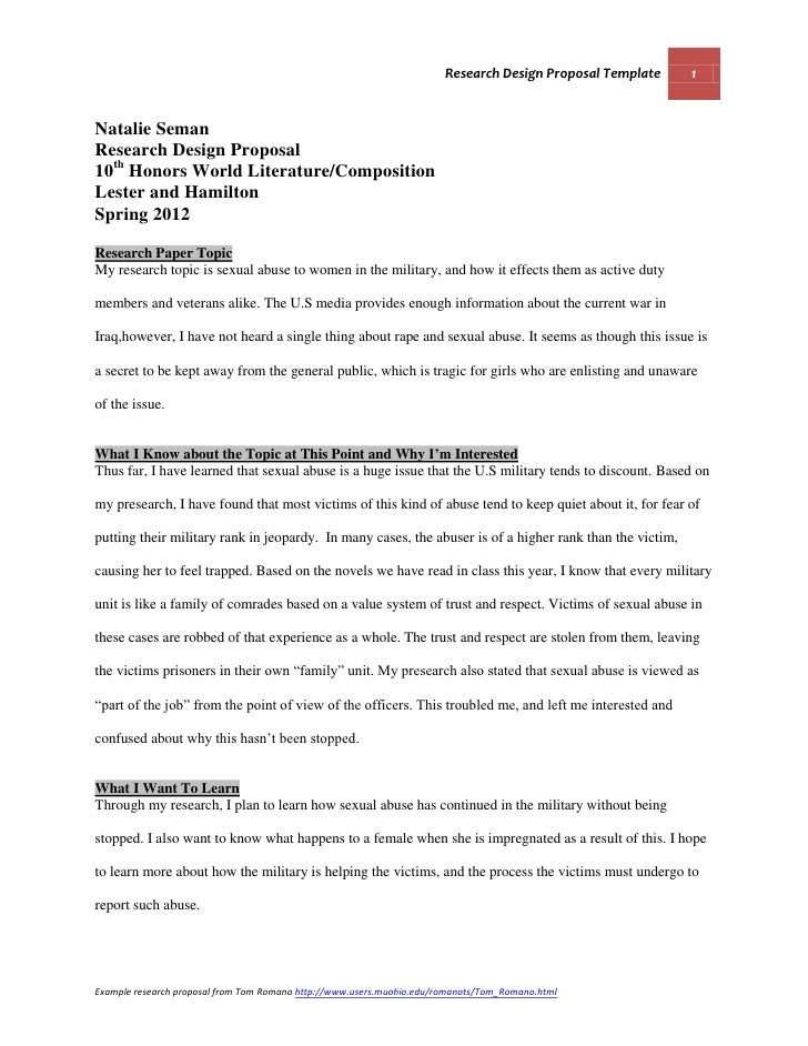 Research Design Proposal Research Design Proposal Template 1natalie  Semanresearch Design Proposal10th Honors World Literature Compositionlester  A