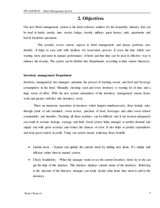 Project Proposal document for Hotel Management System
