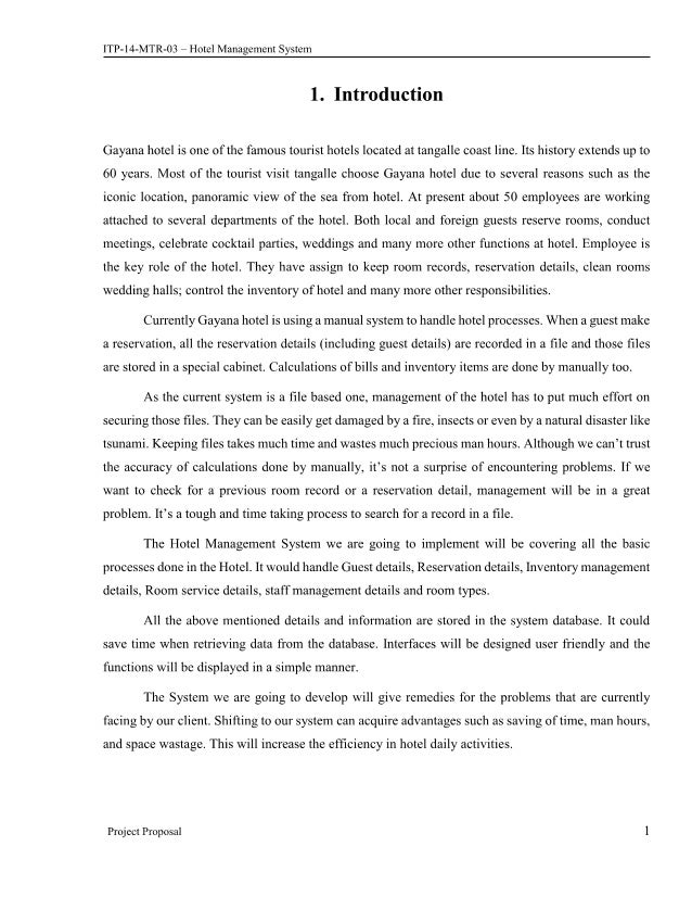 hotel management system thesis pdf