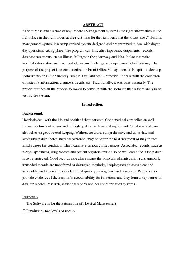 Project Proposal Hospital Management System