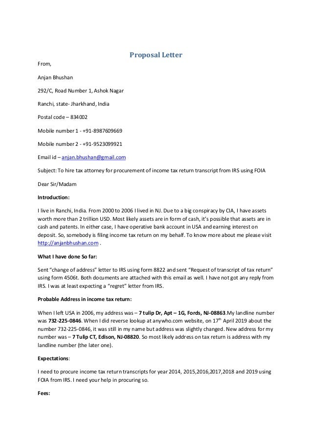 Proposal Letter From, Anjan Bhushan 292/C, Road Number 1, Ashok Nagar Ranchi, state- Jharkhand, India Postal code – 834002...