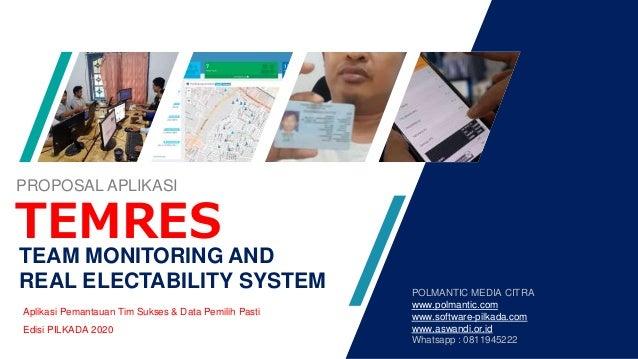 TEAM MONITORING AND REAL ELECTABILITY SYSTEM Aplikasi Pemantauan Tim Sukses & Data Pemilih Pasti Edisi PILKADA 2020 TEMRES...