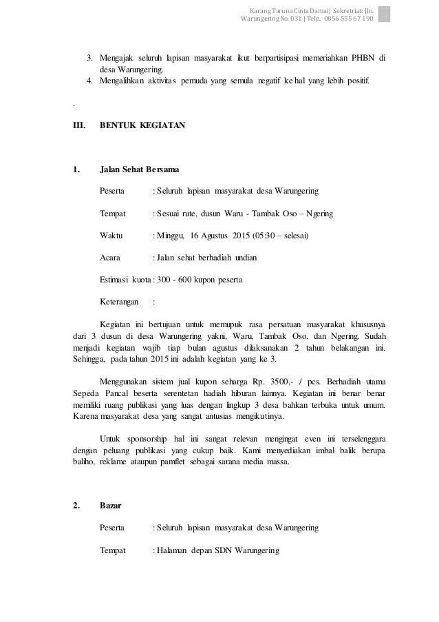surat permohonan bantuan proposal jalan sehat dan bazar