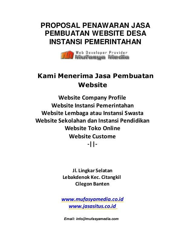 PROPOSAL PENAWARAN JASA PEMBUATAN WEBSITE DESA INSTANSI PEMERINTAHAN Kami Menerima Jasa Pembuatan Website Website Company ...