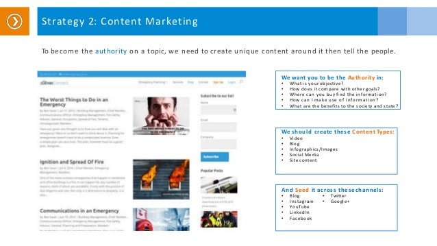 Strategy 2: Content Marketing To become the authority on a topic, we need to create unique content around it then tell the...