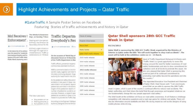 Highlight Achievements and Projects – Qatar Traffic #QatarTraffic A Sample Poster Series on Facebook Featuring Stories of ...