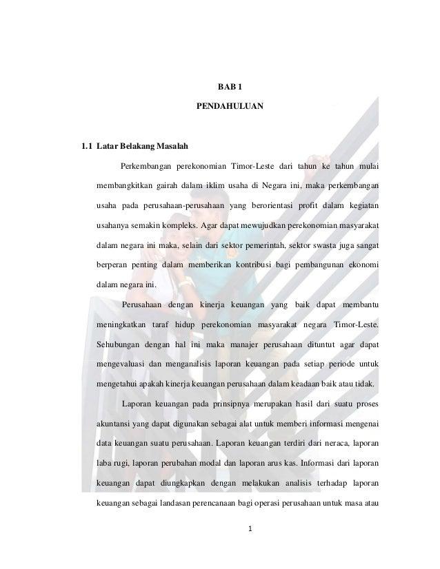 Proposal Analisis Laporan Keuangan Untuk Mengukur Kinerja Keuangan Pe