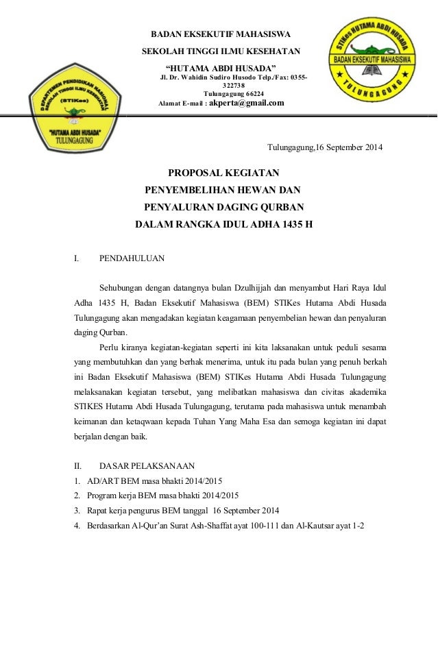 Proposal Bem Acara Idul Qurban 2014