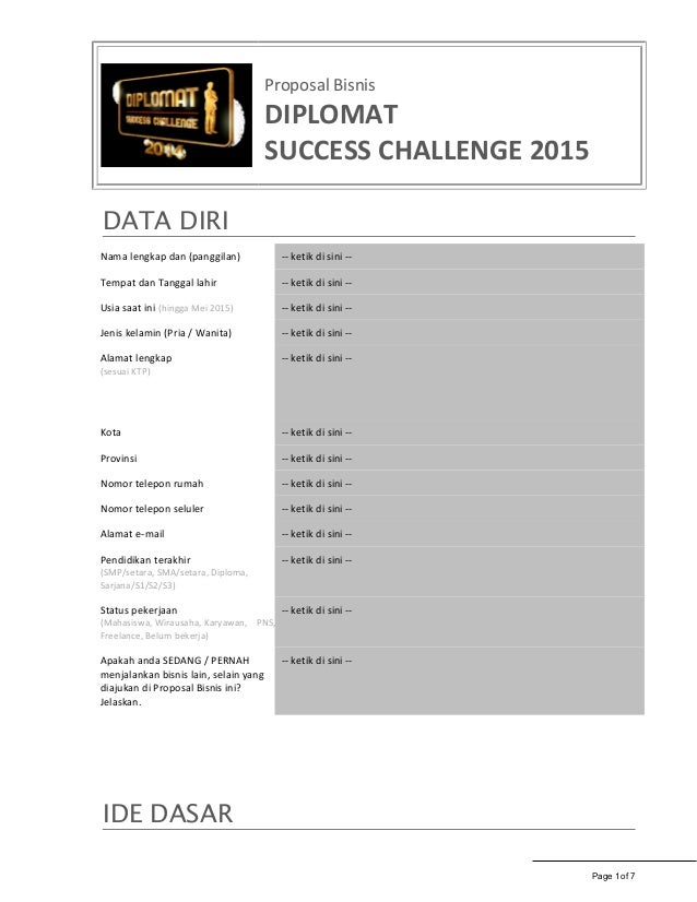 Proposal bisnis dsc 2015 blank template