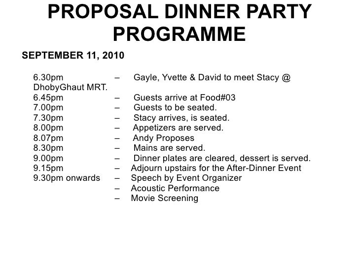 Plans for a Surprise Proposal dinner party – Party Proposal