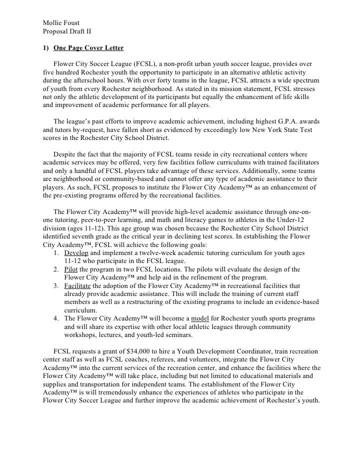 Mollie Foust Proposal Draft II  1) One Page Cover Letter      Flower City Soccer League (FCSL), a non-profit urban youth s...