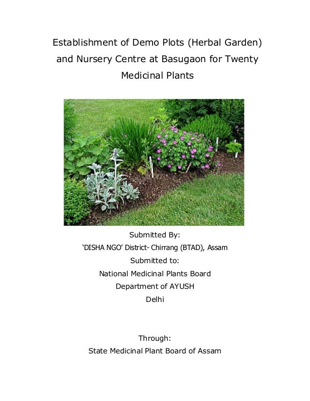 """Establishment of Demo Plots (Herbal Garden) and Nursery Centre at Basugaon for Twenty Medicinal Plants  Submitted By: """"DIS..."""
