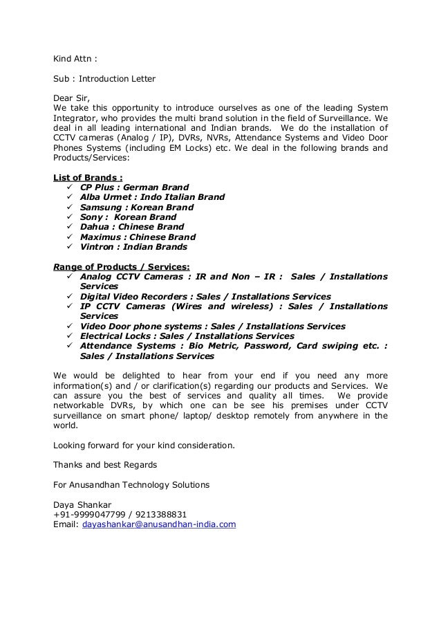 kind attn sub introduction letter dear sir we take this opportunity to introduce - Integrator Cover Letter