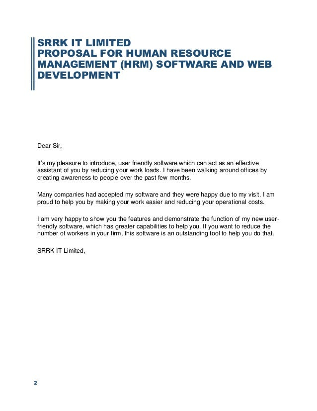 Proposal for hrm software and dynamic website