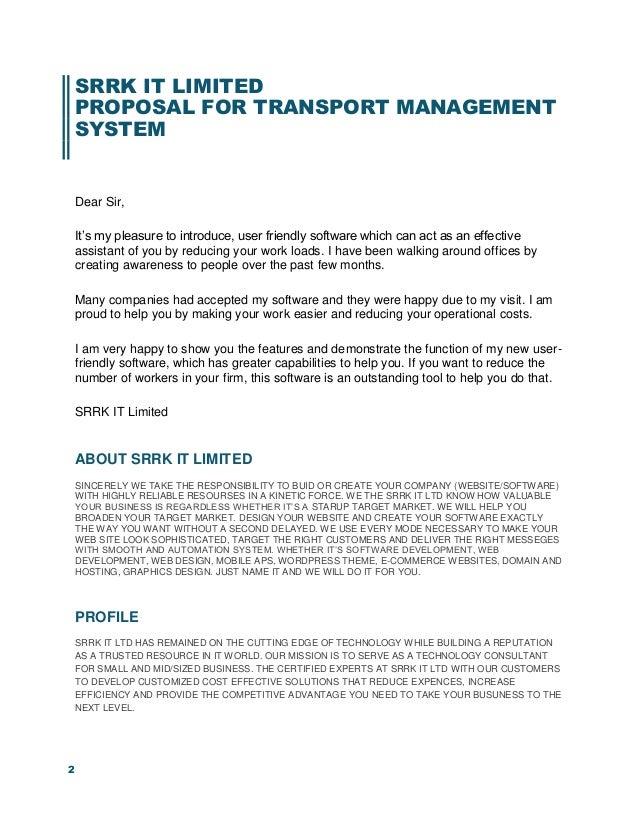 Proposal for transport management system