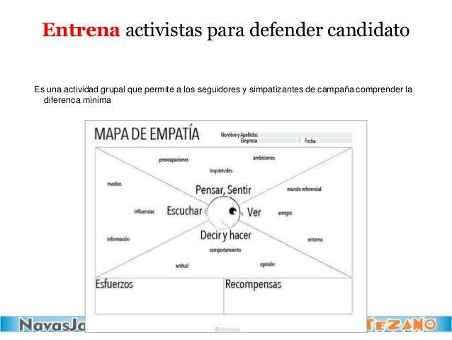 Entrena activistas para defender candidato Es una actividad grupal que permite a los seguidores y simpatizantes de campaña...