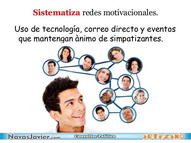 Sistematiza redes motivacionales. Uso de tecnología, correo directo y eventos que mantengan ànimo de simpatizantes.