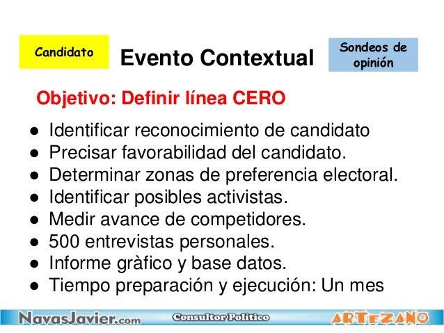 ● Identificar reconocimiento de candidato ● Precisar favorabilidad del candidato. ● Determinar zonas de preferencia electo...