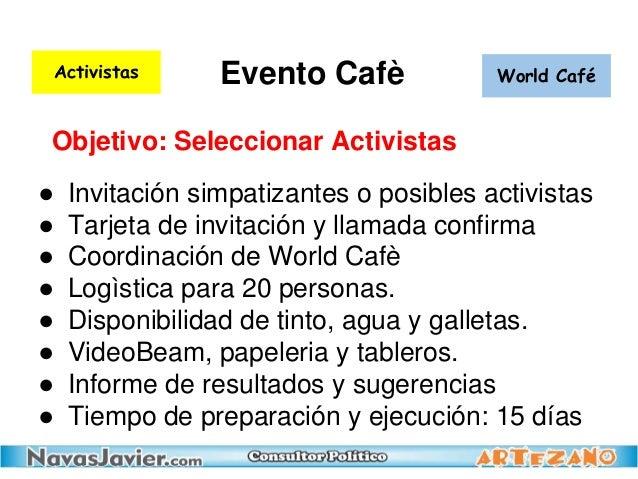 Evento Cafè ● Invitación simpatizantes o posibles activistas ● Tarjeta de invitación y llamada confirma ● Coordinación de ...