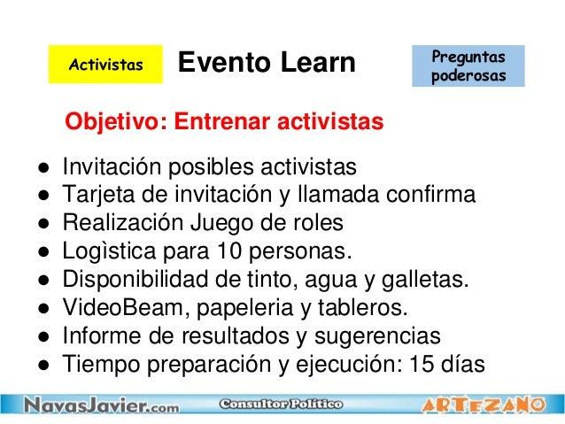 Evento Learn ● Invitación posibles activistas ● Tarjeta de invitación y llamada confirma ● Realización Juego de roles ● Lo...