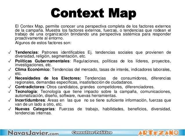 El Contex Map, permite conocer una perspectiva completa de los factores externos de la campaña. Muestra los factores exter...