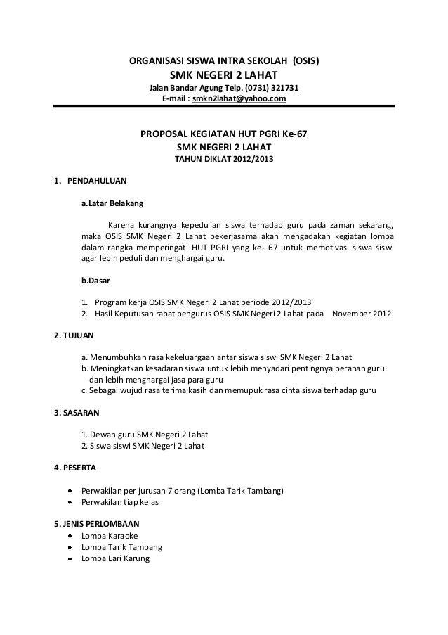 Proposal hut pgri ke 67 (SMK N 2 LAHAT)