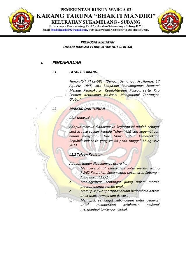 Contoh Proposal Kegiatan Hut Ri Karang Taruna Nusagates