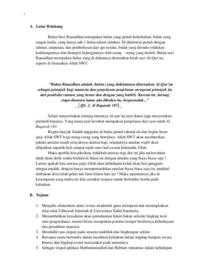 Proposal Kegiatan Buka Bersama Usahid Surakarta
