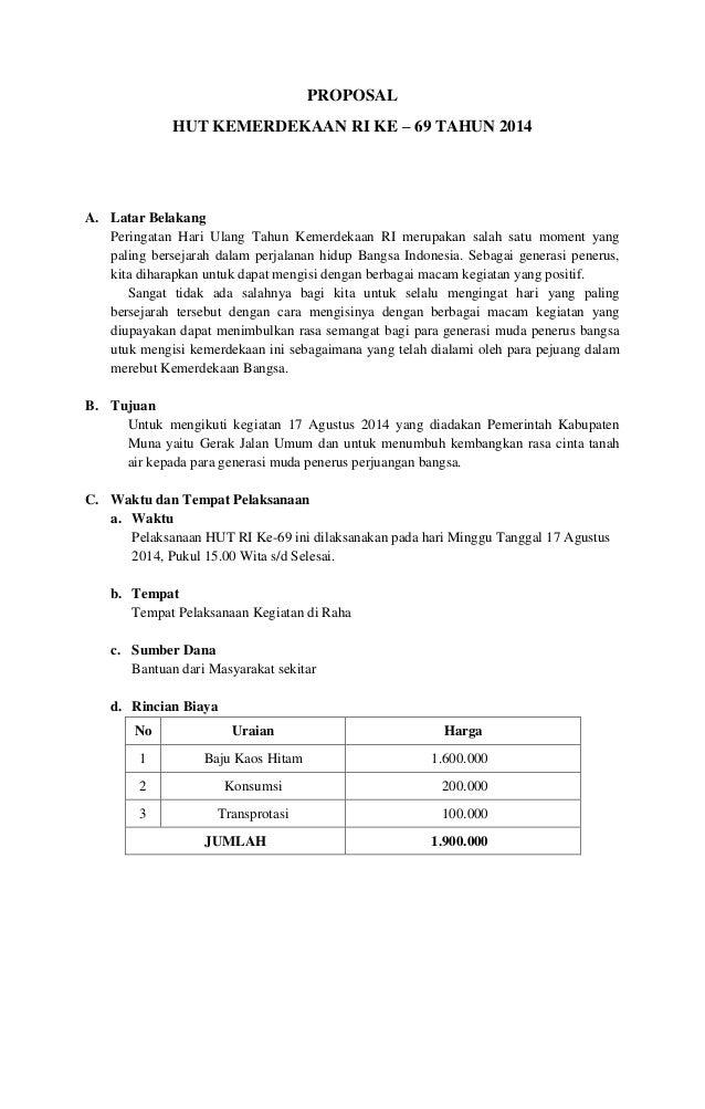Contoh Proposal Kegiatan 17 Agustus Peringatan Hut Ri