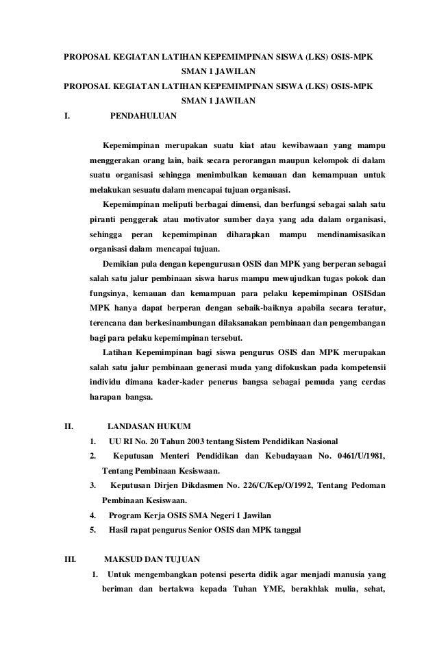 Proposal Kegiatan Latihan Kepemimpinan Siswa
