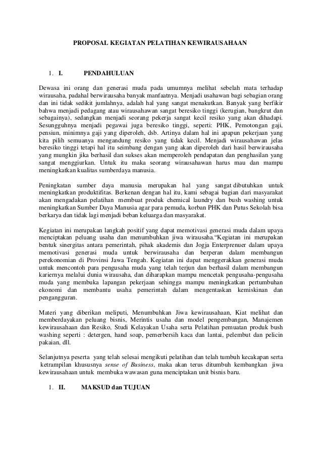 Proposal Kegiatan Pelatihan Kewirausahaan