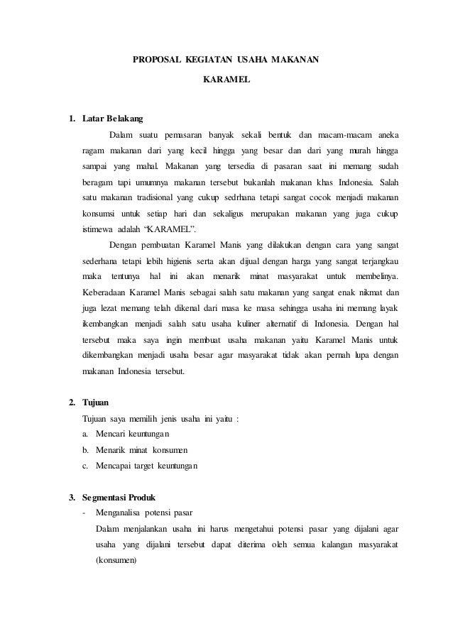 Proposal kegiatan usaha makanan karamel