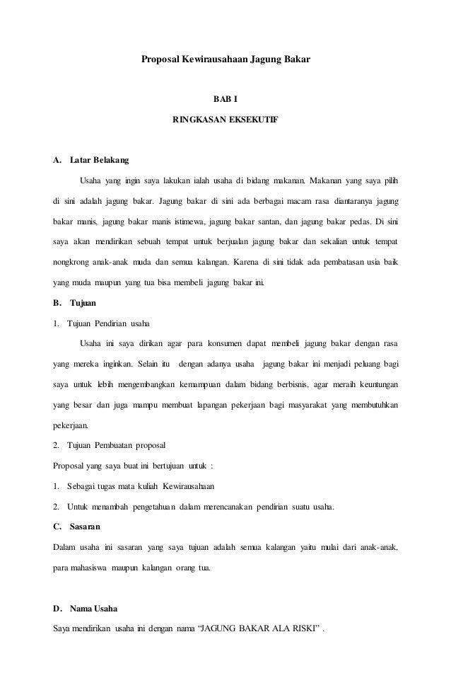 Proposal Kewirausahaan Jagung Bakar
