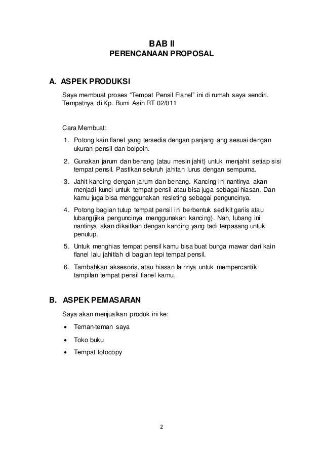 Proposal Kewirausahaan Usaha Tempat Pensil Flanel