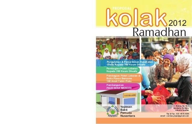 PROPOSALkolak  Ramadhan                                              2012Penyuluhan & Pemeriksaan KesehatanGratis Kepada 2...