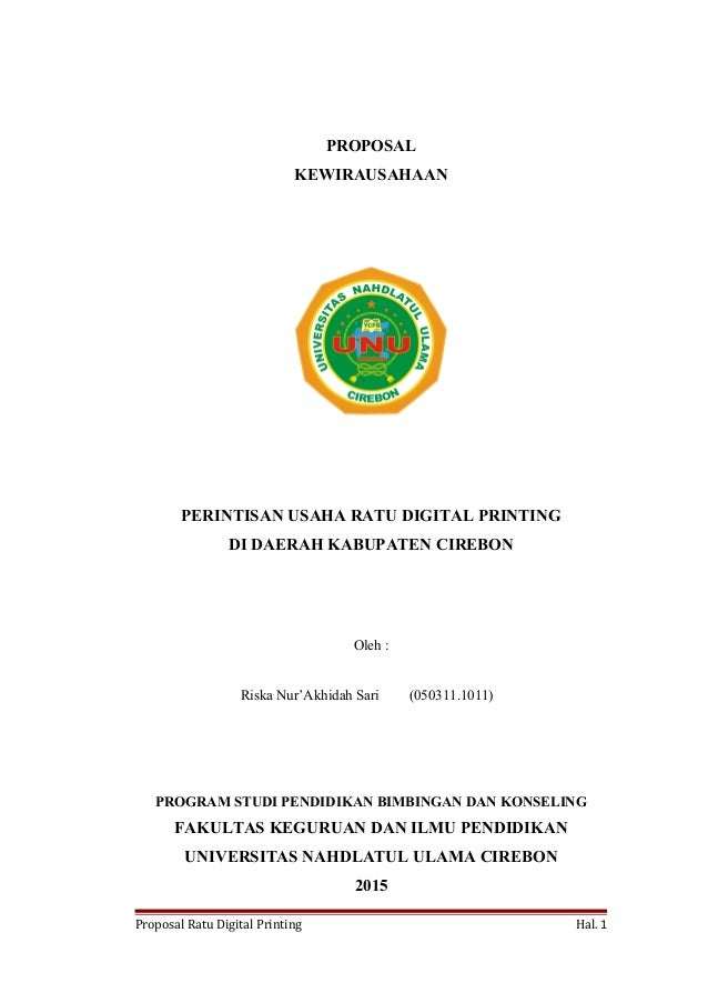 Proposal Perintisan Usaha Ratu Digital Printing
