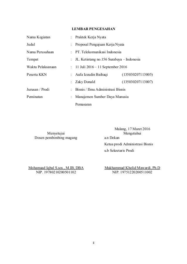 Proposal Magang Pengalaman Organisasi Dalam Pengembangan Sumber Daya