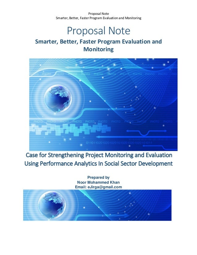 Proposal Note For Strengthening Of Monitoring And Evaluation On Proje