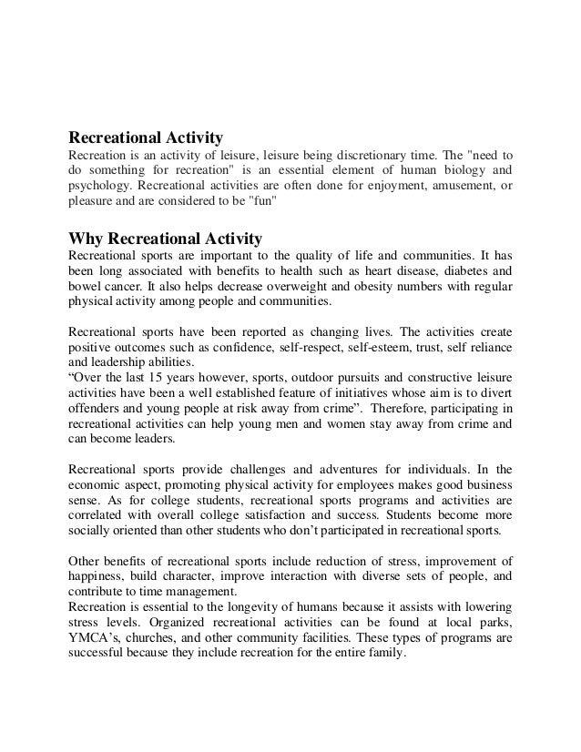recreational activity essay