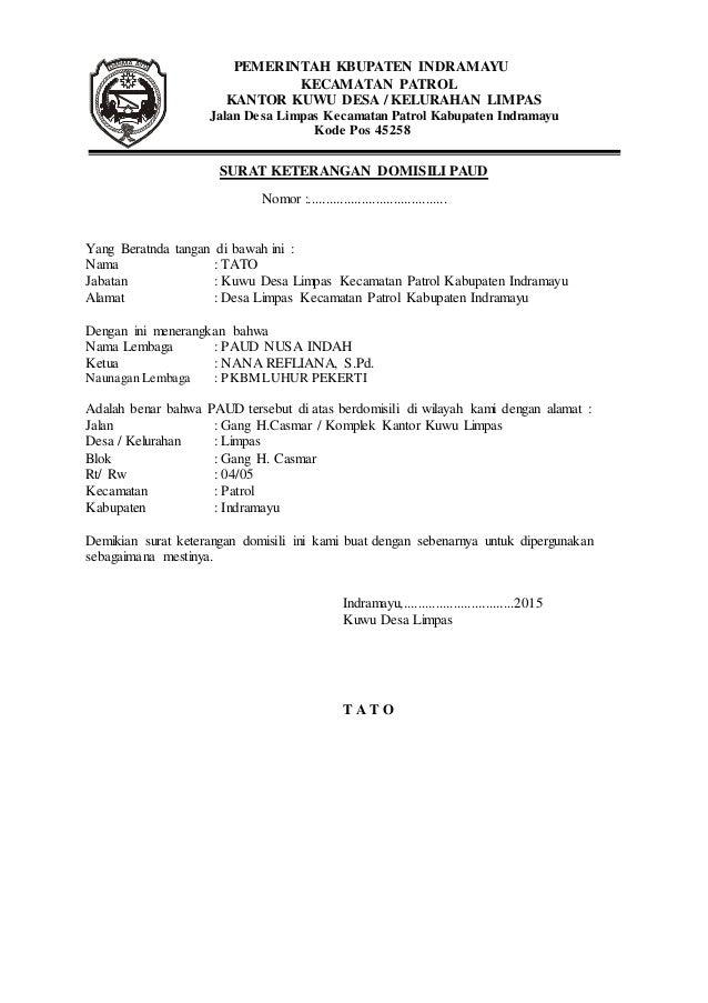 Contoh Surat Keterangan Domisili Lembaga Paud