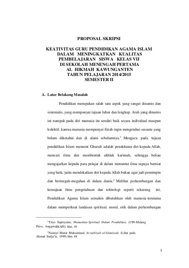 Contoh Proposal Skripsii