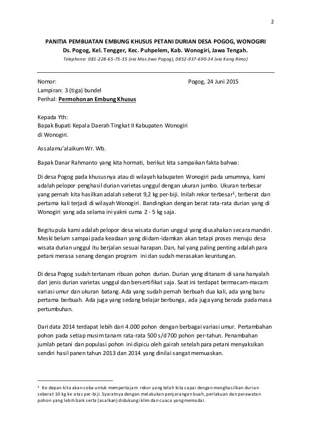 Proposal Pembangunan Embung Khusus Petani Durian Pogog
