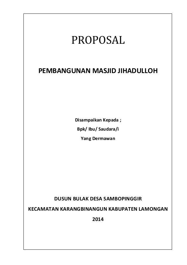 proposal pembangunan masjid jihadulloh