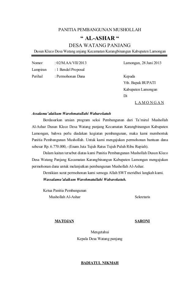 Cara Memuat Surat Contoh Surat Permohonan Bantuan Dana Pembangunan Tpq