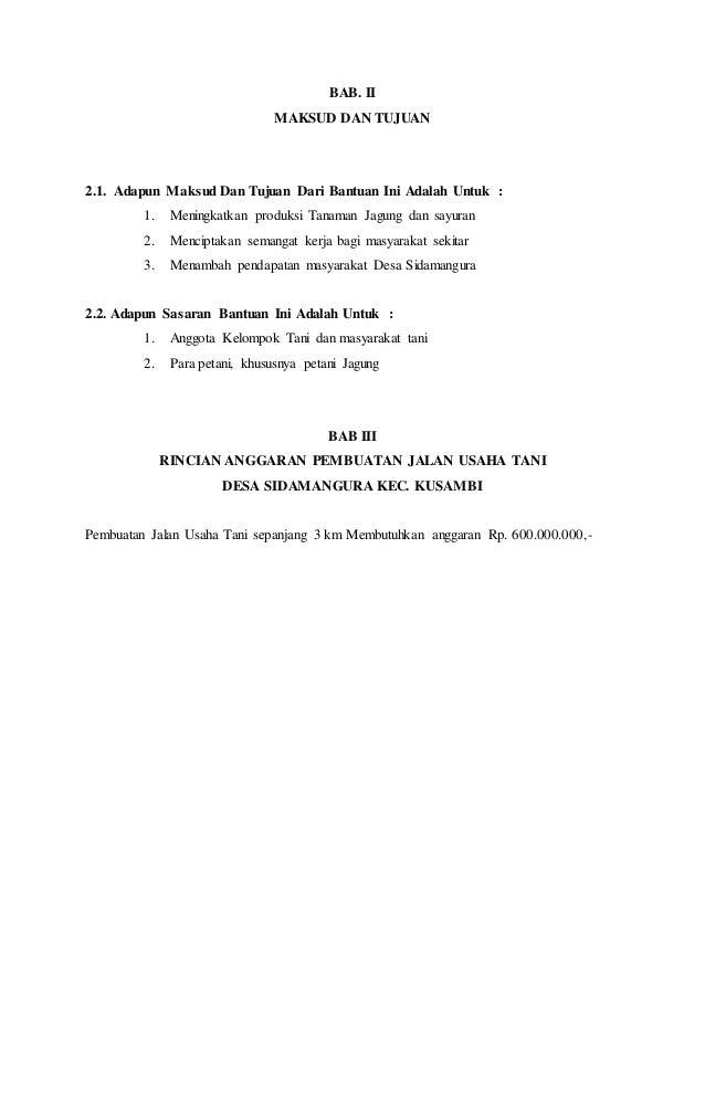 Contoh Proposal Pembangunan Jalan Usaha Tani Berbagi Contoh Proposal