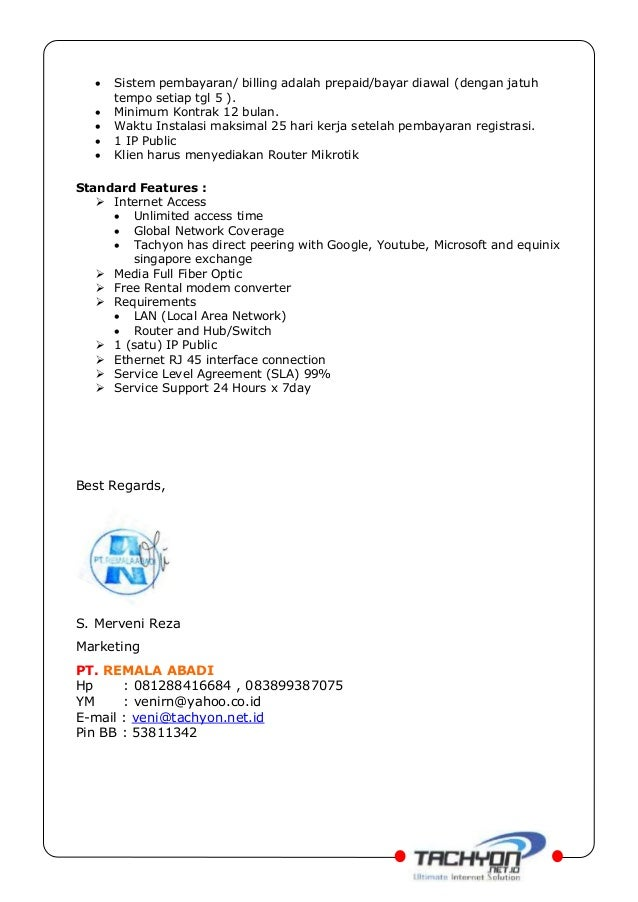 Proposal Penawaran Koneksi Internet Fo Dan Wireless Pt Remala Abadi