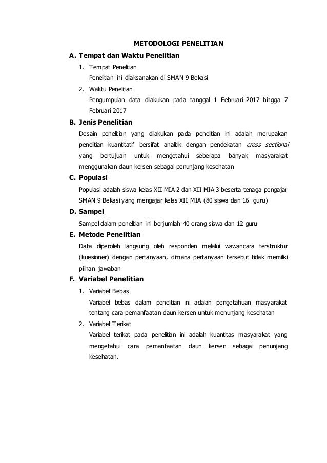 Contoh Proposal Penelitian Untuk Tugas Bahasa Indonesia