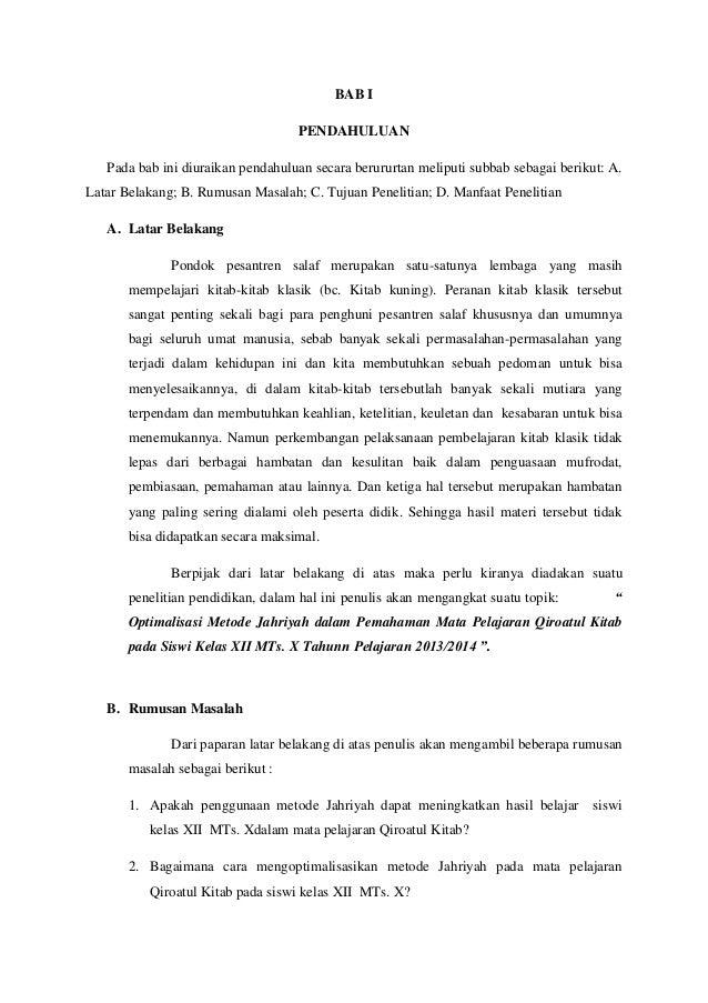 Contoh Proposal Ptk Pba Optimalisasi Metode Jahriyah Dalam Pemahaman