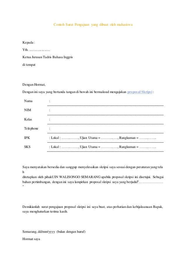 Contoh Surat Rekomendasi Judul Skripsi
