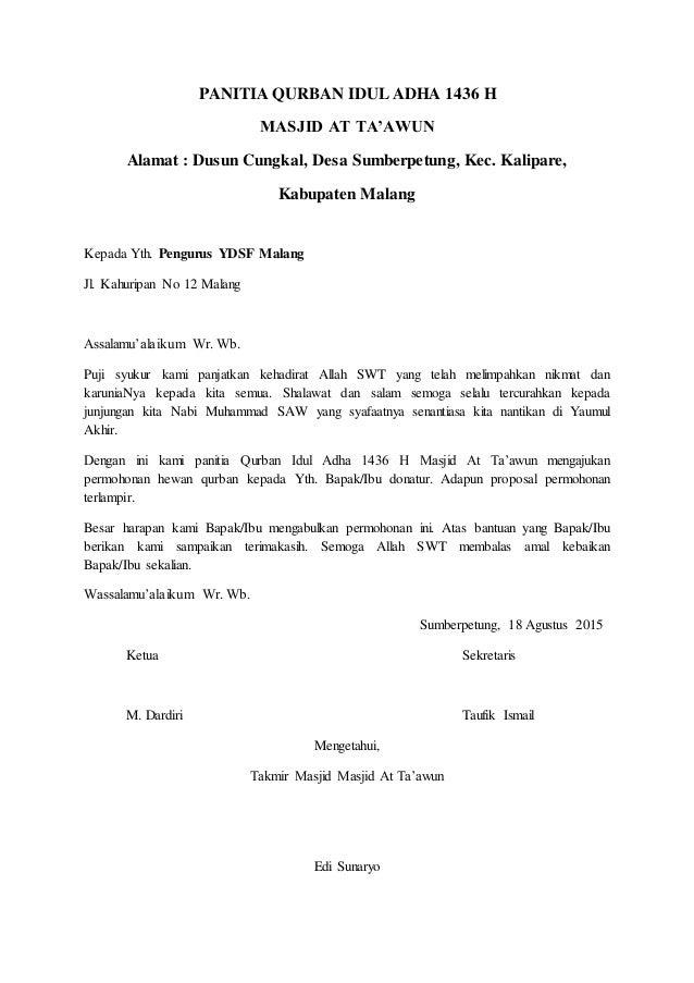 Proposal Permohonan Hewan Qurban
